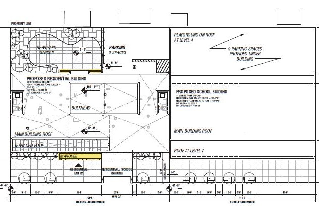Architectural drawings illustrate new charter school and residential property along Beach 67th Street - Think Architecture