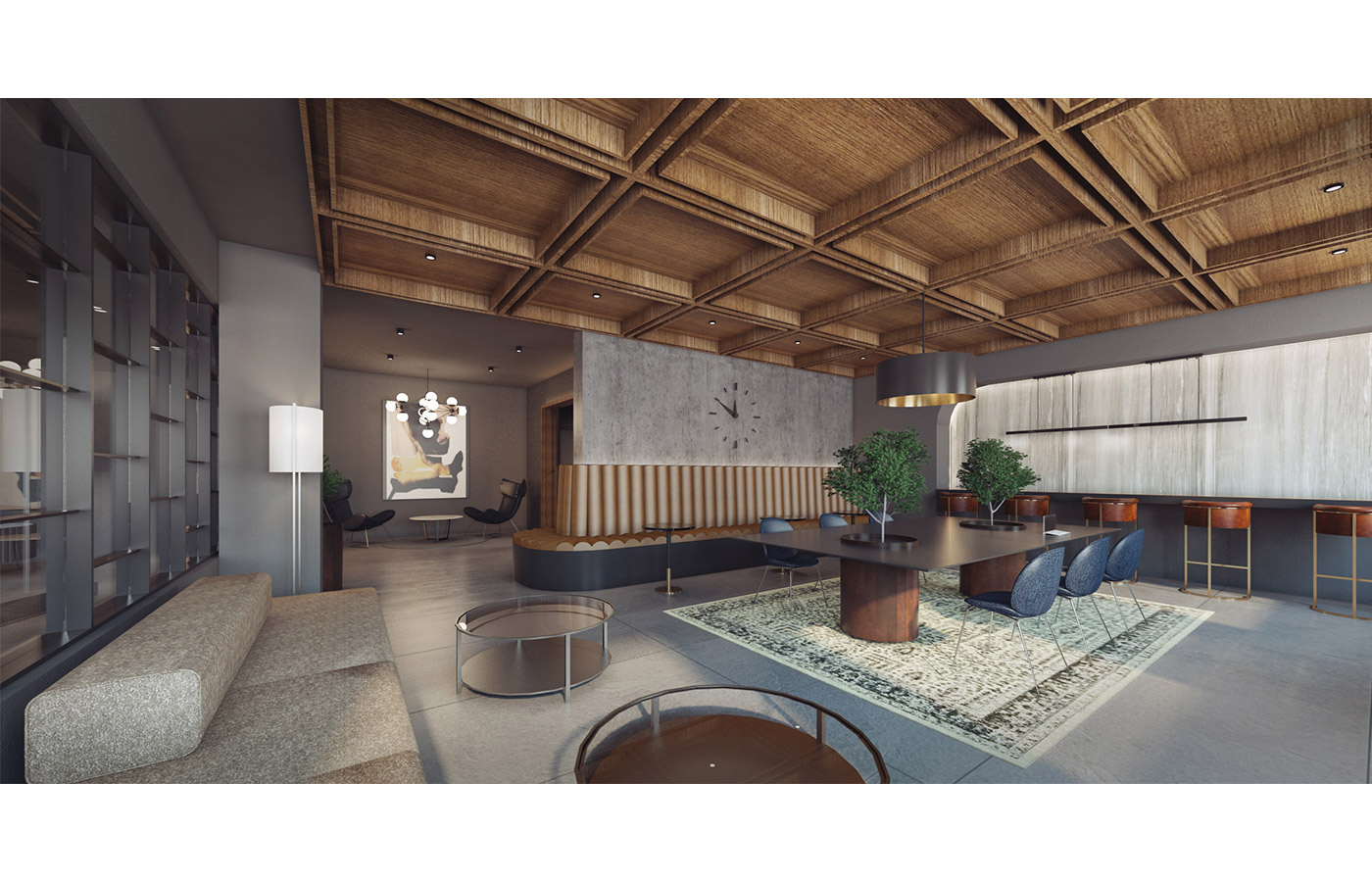 Rendering of resident lounge at 260 Gold Street - StudiosC Architecture