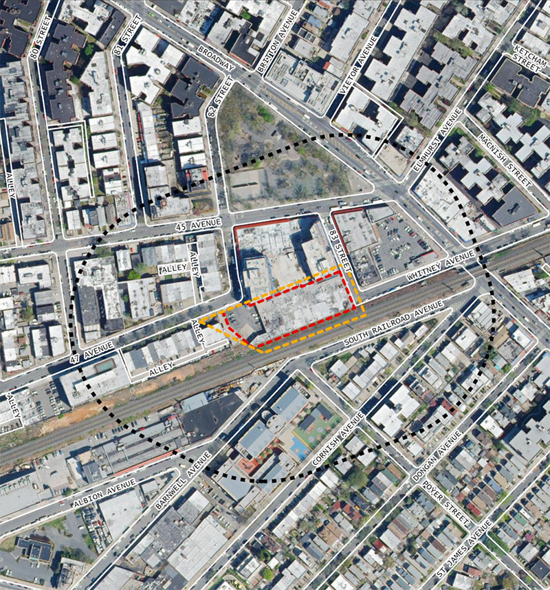 Aerial map of the project site for the proposed residential building and charter school - Stephen B. Jacobs Group