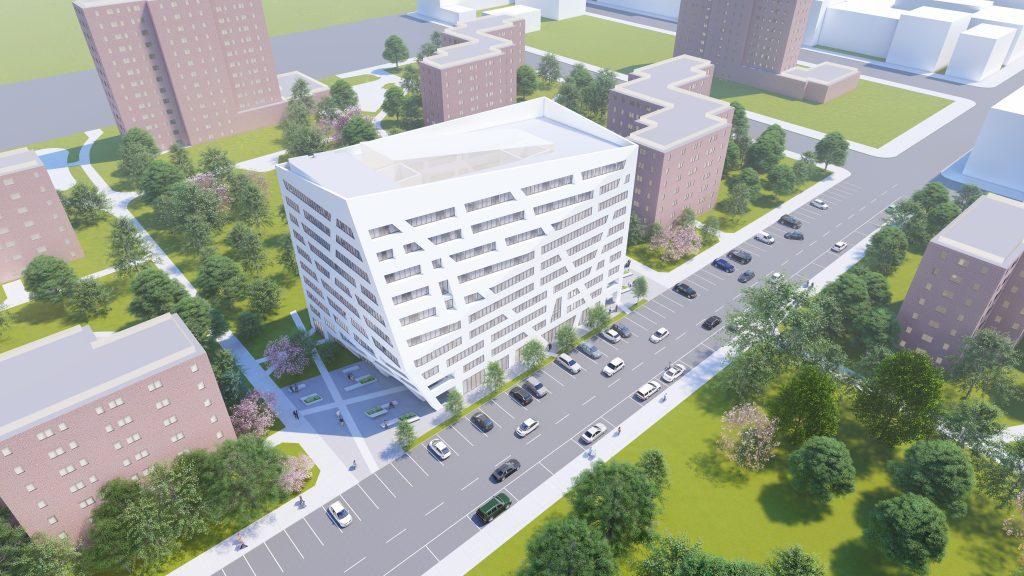 Aerial rendering of The Atrium at Sumner - Studio Libeskind; Sumner Senior Partners LLC