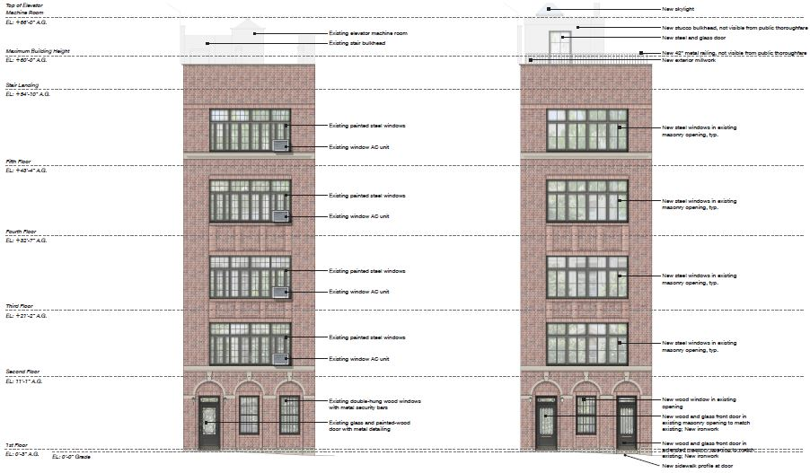 Drawings illustrate existing front elevation (left) and proposed alterations (right) at 19 East 74th Street - Steven Harris Architects