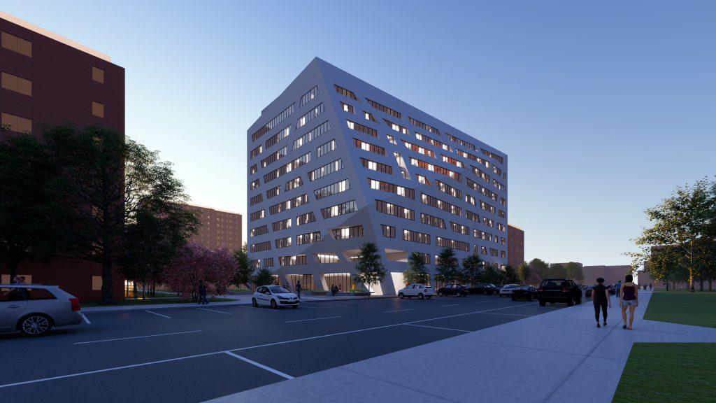 Evening rendering of The Atrium at Sumner - Studio Libeskind; Sumner Senior Partners LLC