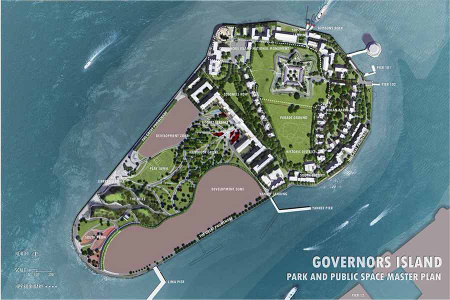 Master Plan for the Governors Island Park and Public Space designed by West 83 - Courtesy of The Trust for Governors Island