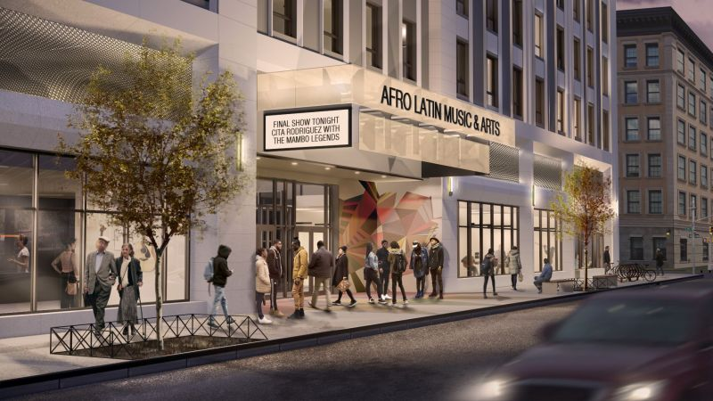 Rendering illustrates pedestrian entryway and marquee at the new Afro-Latin Music and Arts (ALMA) Center