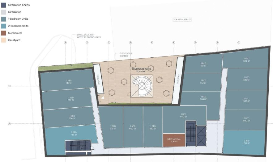 Rendering illustrates second floor plan for 361 Main Street - MASS Design Group