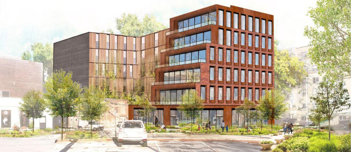 Rendering of 361 Main Street's rear facade - MASS Design Group