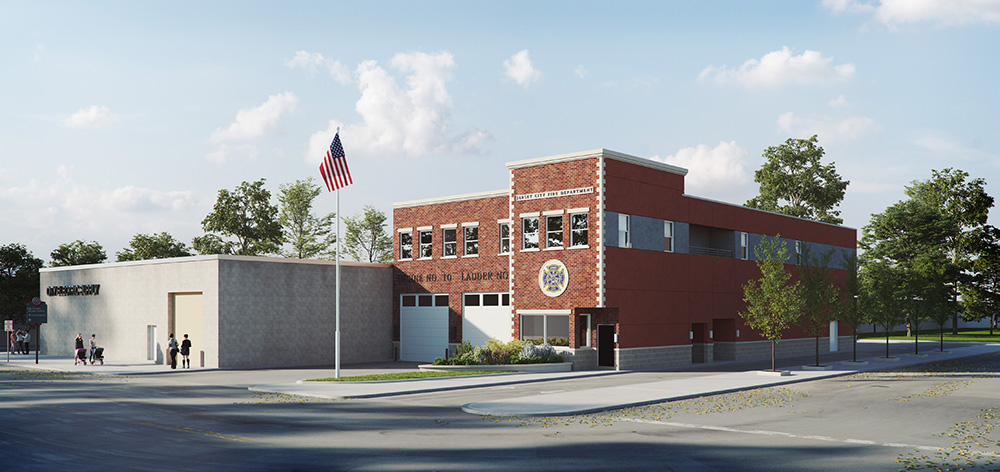 Rendering of Jersey City Firehouse Engine 10 at 627 Grand Street - Netta Architects