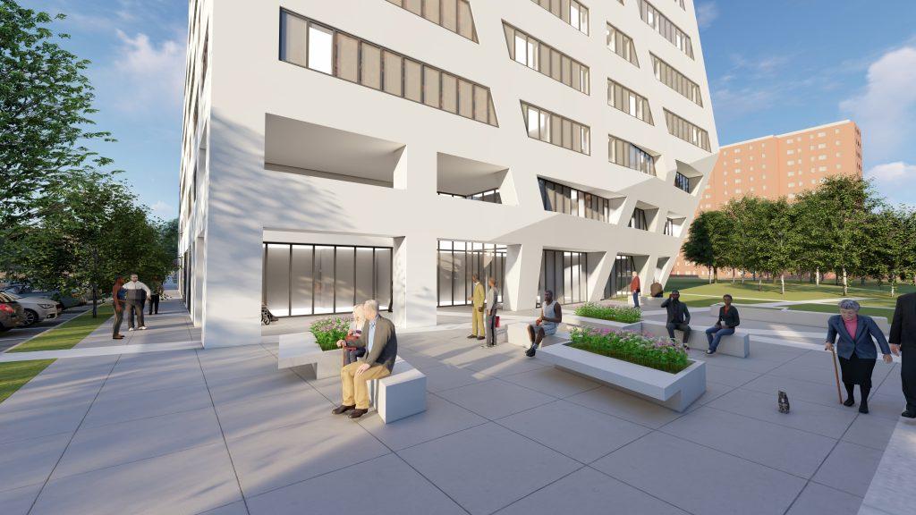 Rendering of The Atrium at Sumner's ground floor - Studio Libeskind; Sumner Senior Partners LLC
