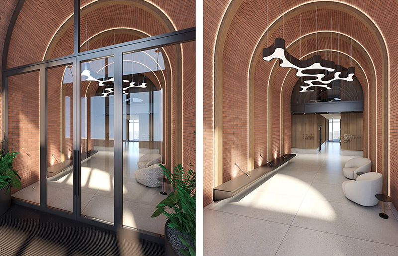 Render of the arched walkway in 1010 Pacific Street StudiosC