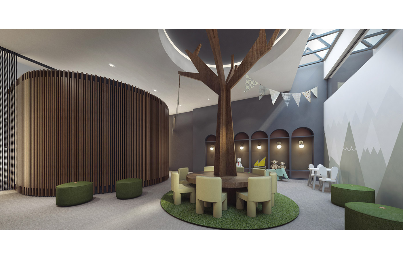 Rendering of children's playroom at 260 Gold Street - StudiosC Architecture