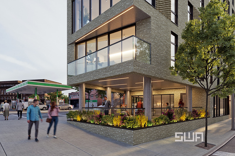 Rendering of ground floor at 261 Grand Concourse - S. Wieder Architect