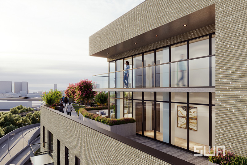 Rendering of outdoor terrace at 261 Grand Concourse - S. Wieder Architect