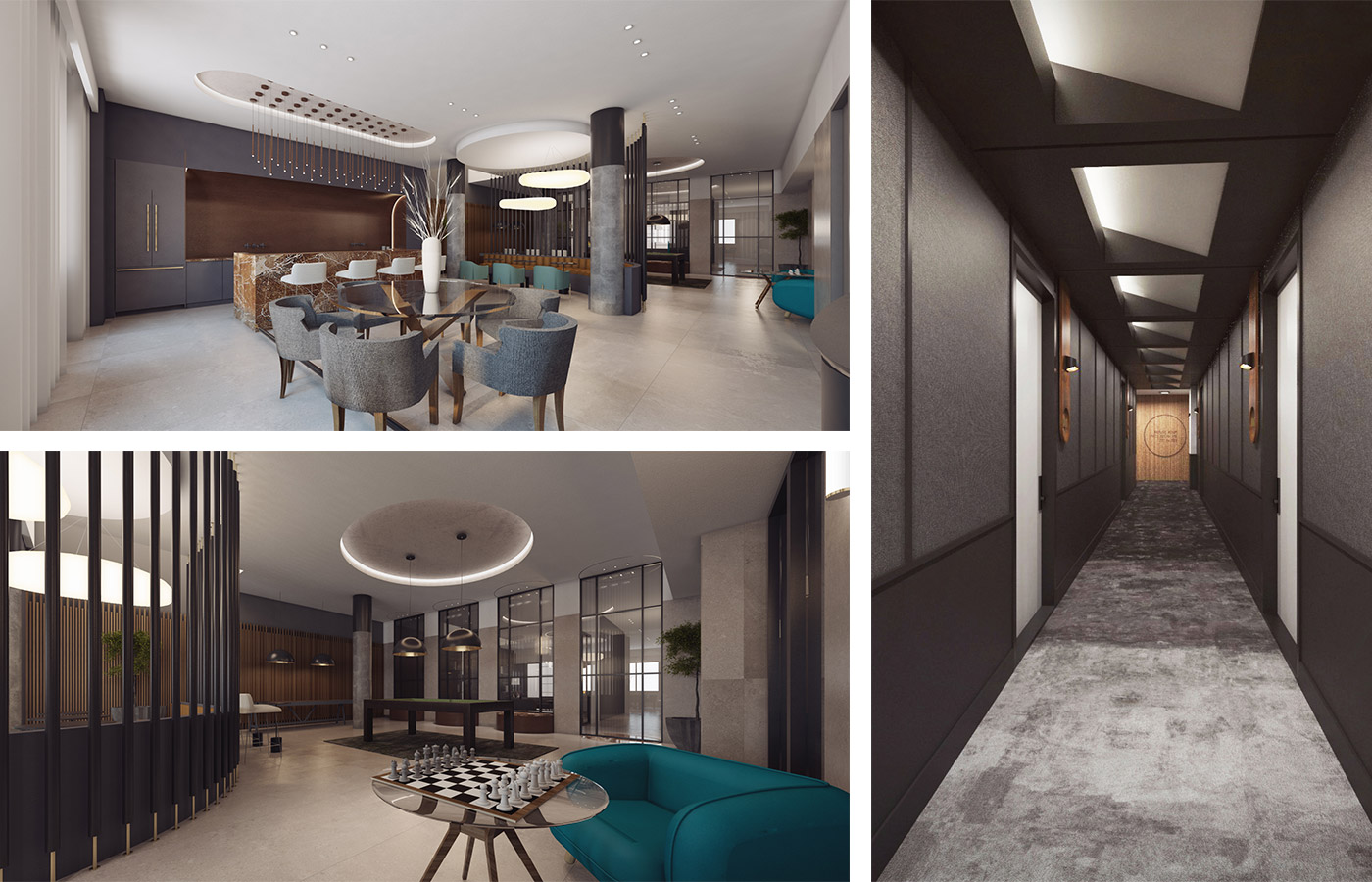 Rendering of resident lounge and interior corridors at 260 Gold Street - StudiosC Architecture