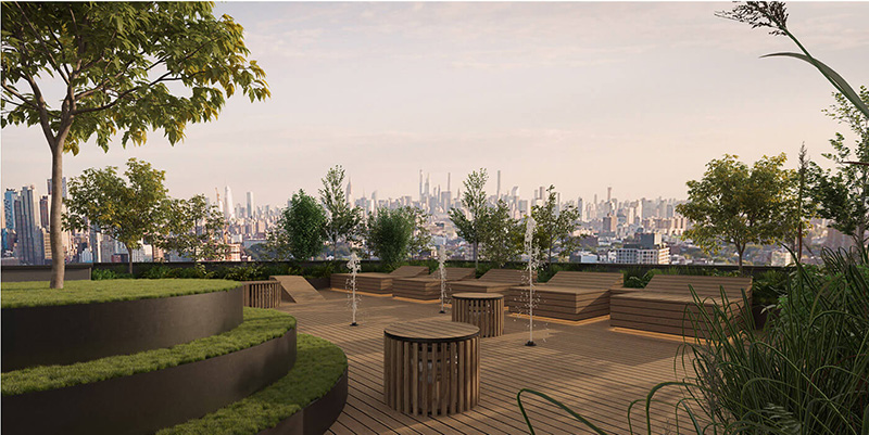 Render of the rooftop terrace at 1010 Pacific Street StudiosC