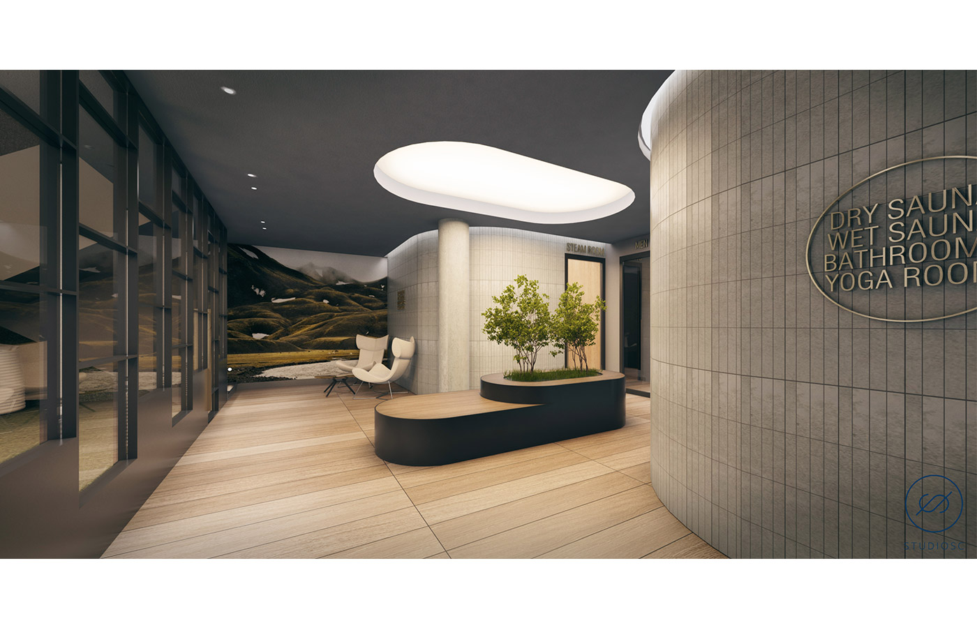 Rendering of sauna entryway at 260 Gold Street - StudiosC Architecture