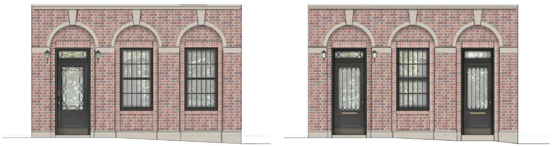 Renderings illustrate existing street profile (left) and proposed alterations (right) at 19 East 74th Street - Steven Harris Architects