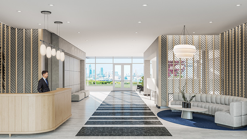 Residential lobby at The Beach - Courtesy of Newport Leasing Office