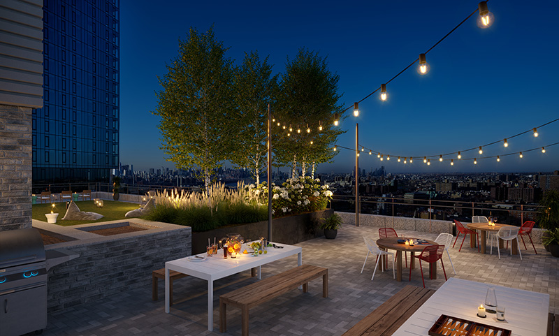 Roof terrace at Plank Road/662 Pacific Street - VMI rendering for IF Studio