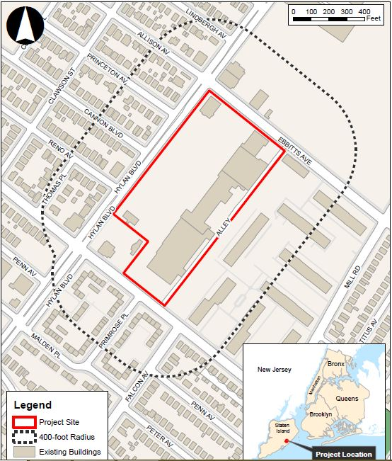 Site map illustrates project site (red) and surrounding affected areas (black) - Park Tysen Associates LLC
