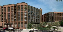 Rendering of 'Building A' at 20 Haarlem Avenue and 'Building B' at 27 Holland Avenue - Perkins Eastman