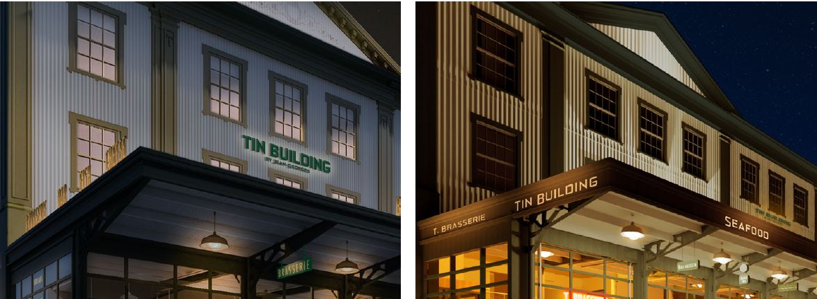 [From left to right] View of previously submitted renderings of canopy signage at 95 Marginal Street (The Tin Building) and current renderings - Roman & Williams Buildings and Interiors