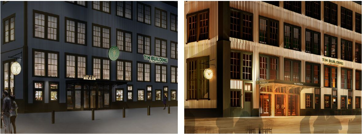 [From left to right] View of previously submitted renderings of illuminated signage at 95 Marginal Street (The Tin Building) and current renderings - Roman & Williams Buildings and Interiors