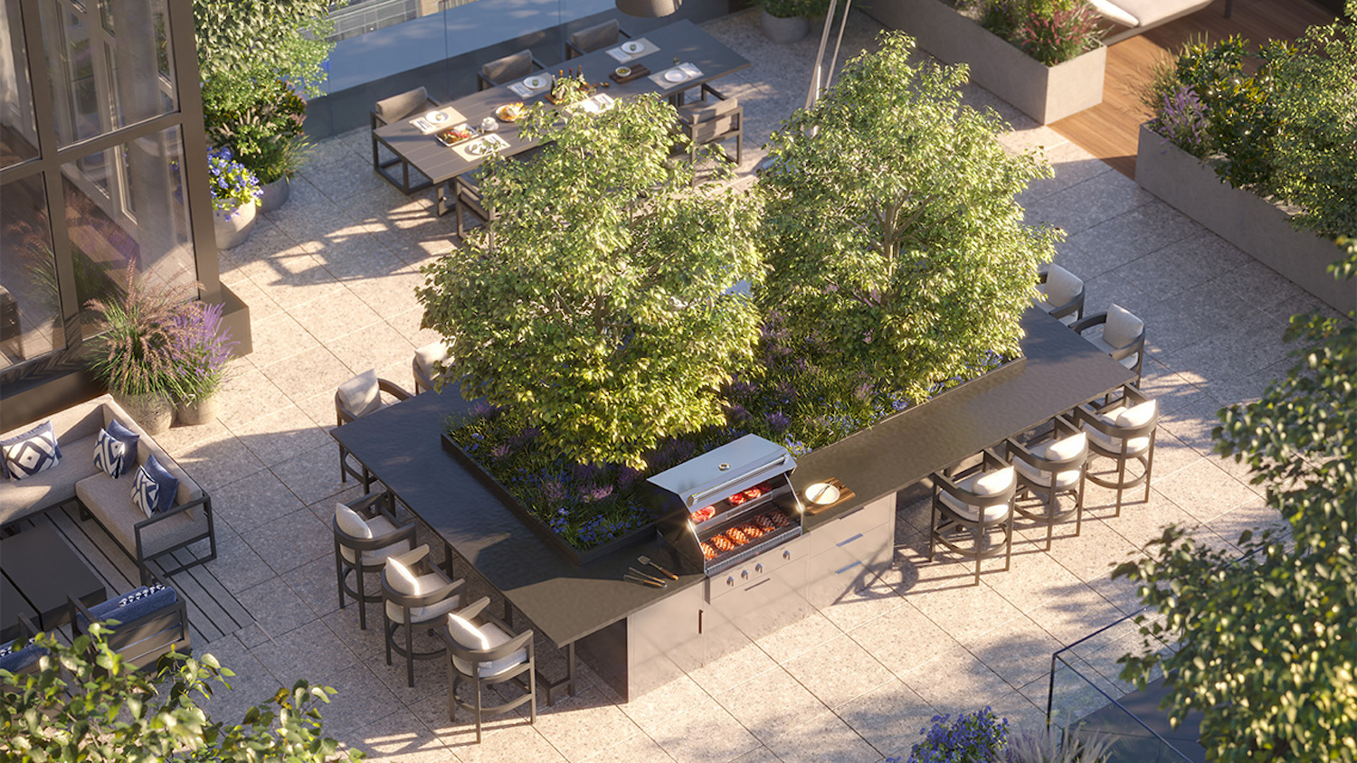 Rendering of outdoor terrace at 7 Dey Street - Courtesy of SL Green