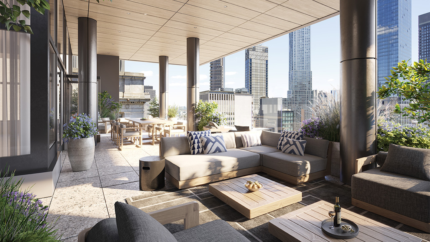 Rendering of club lounge at 7 Dey Street - Courtesy of SL Green