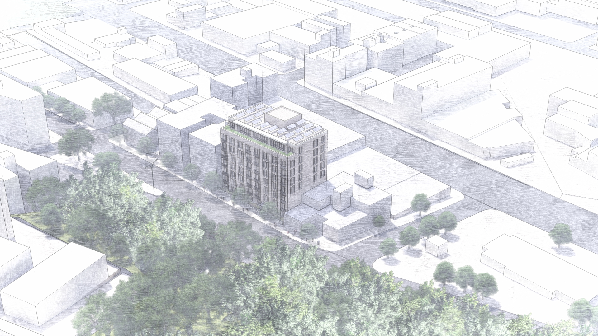 Aerial rendering of 1640-1642 Anthony Avenue - Robert A.M. Stern Architects
