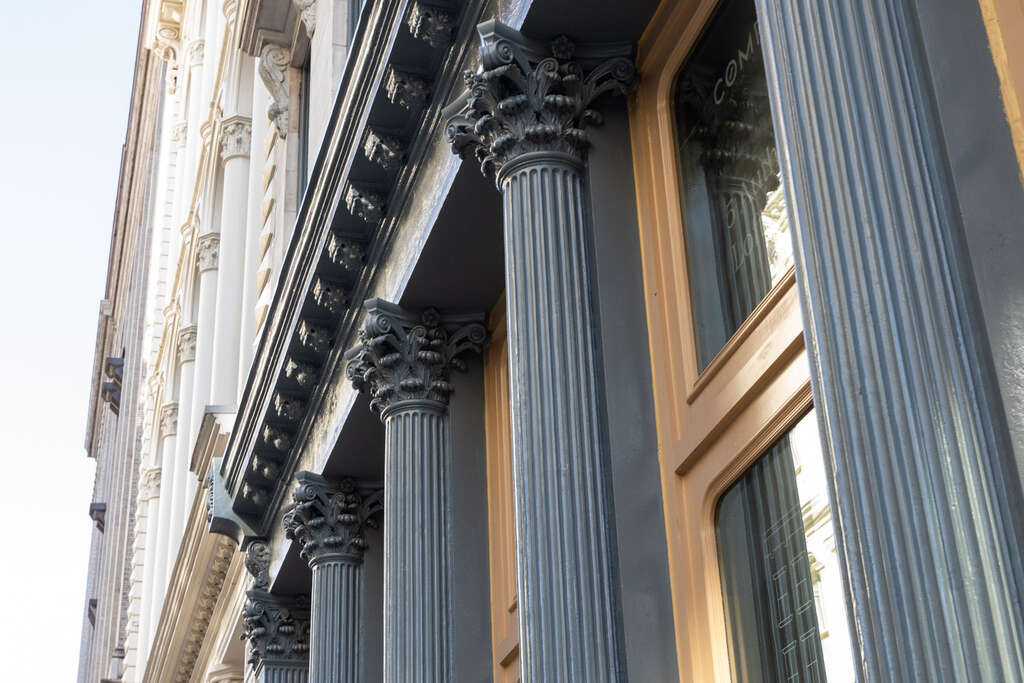 Restored cast-iron columns and facade at 51-53 White Street