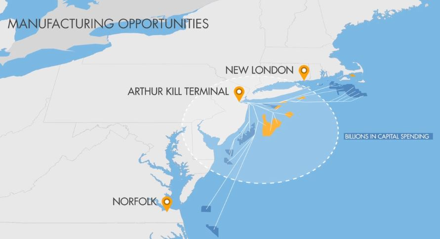 Regional wind turbine project sites surrounding the Arthur Kill Terminal Project - Photos by Atlantic Offshore Terminals