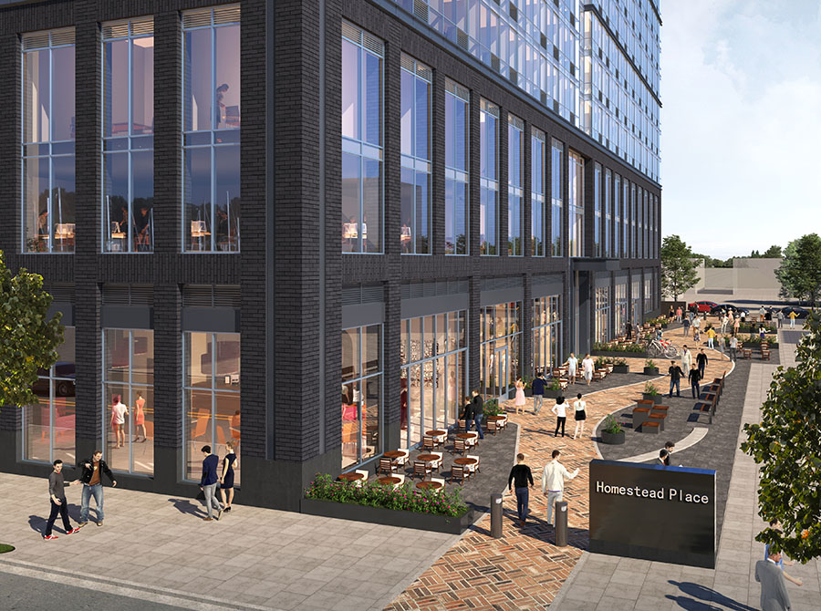 Rendering of ground floor pedestrian plaza and retail space at 618 Pavonia - C3D Architecture