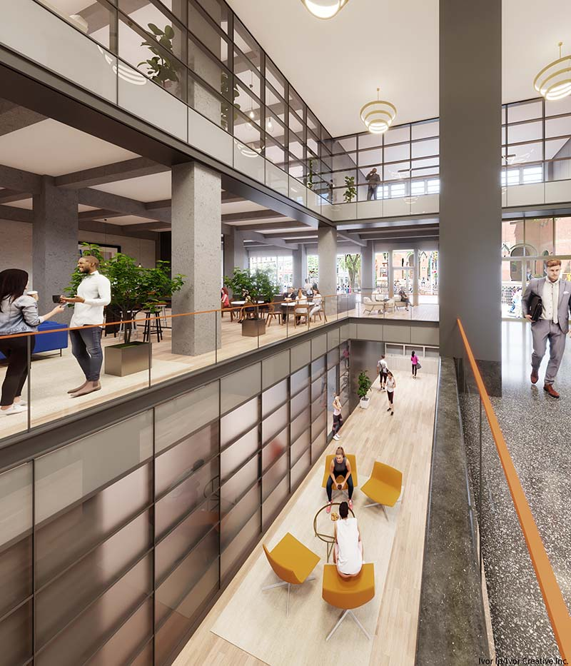 Rendering of lobby atrium at 330 West 42nd Street - Courtesy of Ivor Creative