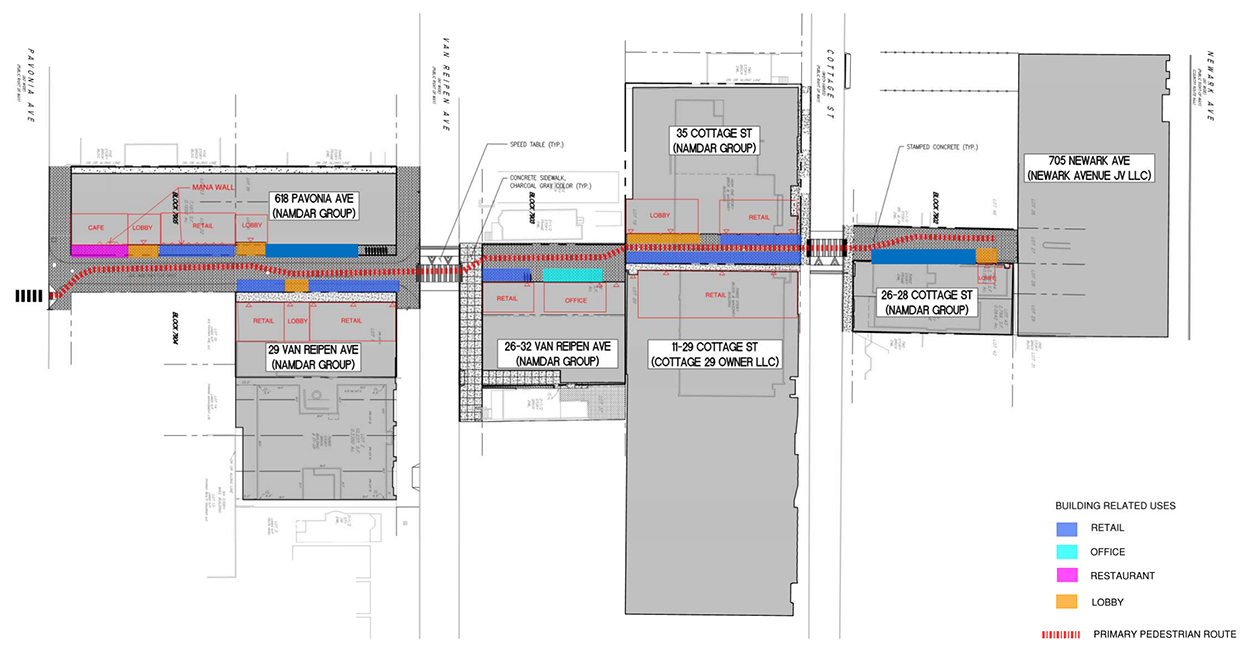 Site map illustrates building's within Homestead Place and the central pedestrian walkway - C3D Architecture