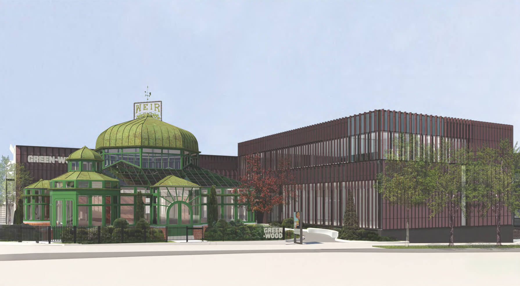 Rendering of the new Green-Wood Cemetery welcome center - Architecture Research Office (ARO)