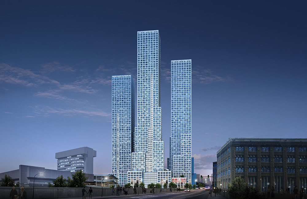 Evening rendering of all three towers at Journal Squared - Courtesy of Qualls Benson