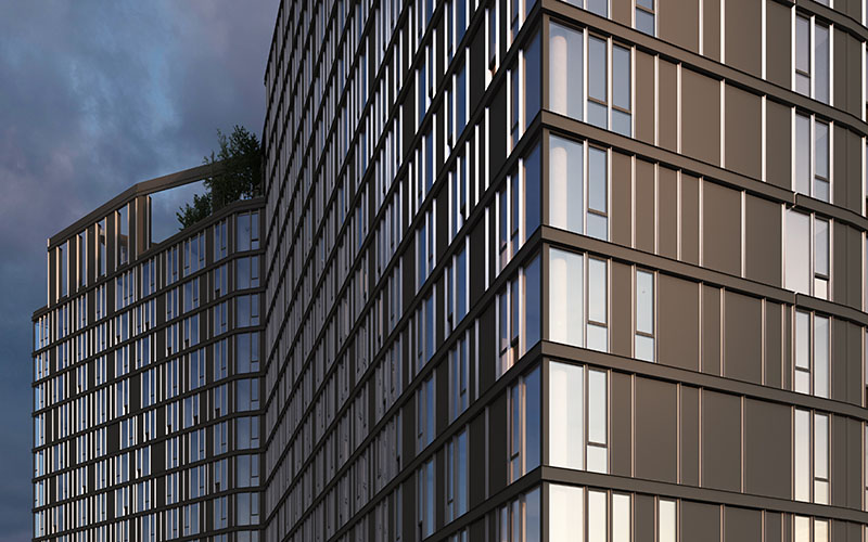 Rendering of Archer Towers facade - Courtesy of STUDIO V Architecture
