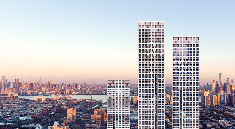 Rendering of all three towers at Journal Squared - Courtesy of Qualls Benson