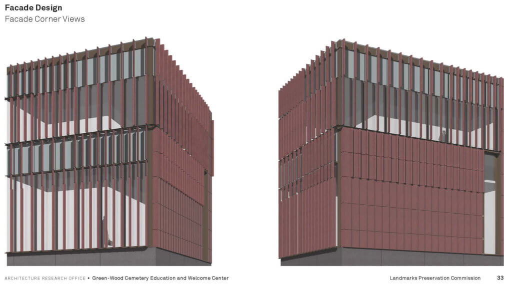 Rendering of the new Green-Wood Cemetery welcome center's facade panels - Architecture Research Office (ARO)