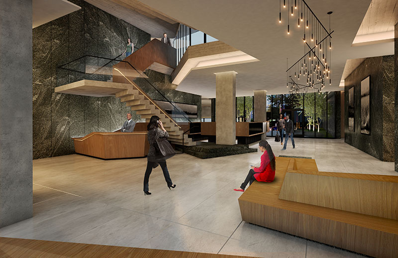 Residential lobby at Archer Towers - Courtesy of STUDIO V Architecture