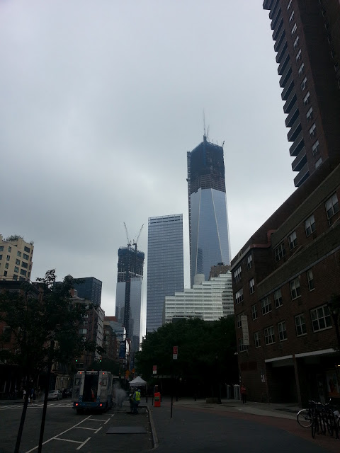 One, Seven, and Four World Trade Center rising in Lower Manhattan, July 2012